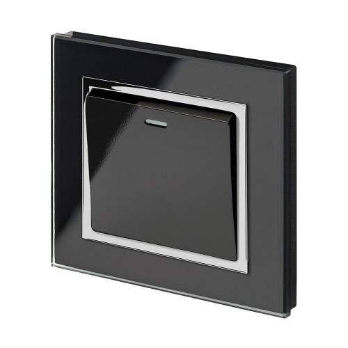 RetroTouch 1 Gang 1 Way 10A Pulse/Retractive Light Switch Black Glass CT 00199